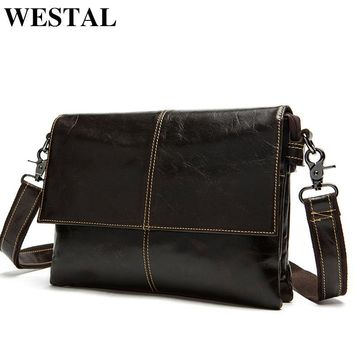 WESTAL Messenger Bag Men Leather Shoulder Crossbody Bags Fashion Ipad Small Flap Genuine Leather Men Bags Men's Shoulder Bags