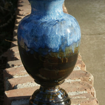 Brown and Bright Sky Blue Vase - hand thrown pottery