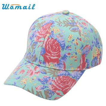 Cap Women 2017 Flower Cotton Baseball Cap Girls Snapback Hip Hop Flat Hat Ap11