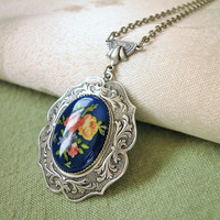 Blue Floral Decal Cabochon Oxidized Sterling Plated Pendant Necklace 24 Inches Long, Handmade Victorian Art Deco