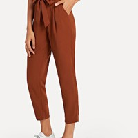 Ruffle Detail Belted Pleated Pants