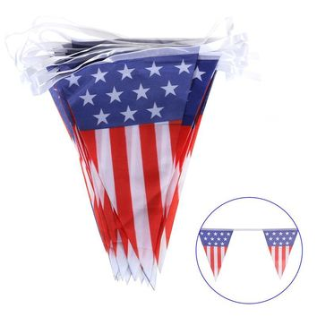 Plastic 4th Of July American Flag Party Decoration Bunting Flags