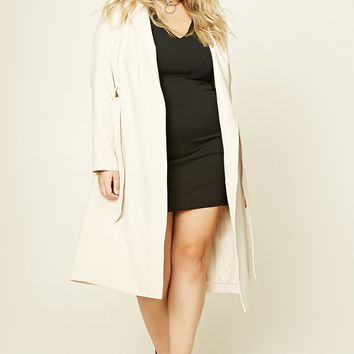 Plus Size Shawl Collar Coat