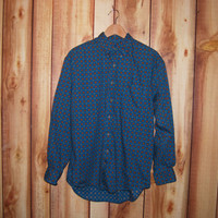 Vintage Early 1990's Men's Patterned GAP Button Down Turquoise Shirt - Normcore