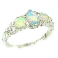 Ladies Solid Sterling Silver Natural Fiery Opal English Victorian Trilogy Ring - Finger Sizes 5 to 12 Available