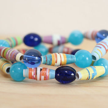 2 Recycled Paper Bead Bracelet, Handmade With Book Pages, My 1st 100 Words