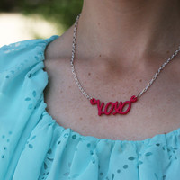 xoxo Word Necklace - Pink