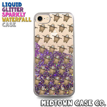 Sloth Branch Pull Up Pattern Funny Sloths Cute Liquid Glitter Waterfall Quicksand Sparkles Glitter Bomb Bling Case for iPhone 7 7 Plus 6s 6