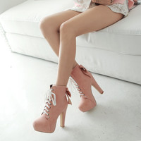 Women Ankle Boots Platform Back Bowtie Lace Up High Heels Shoes Woman 2016 3458