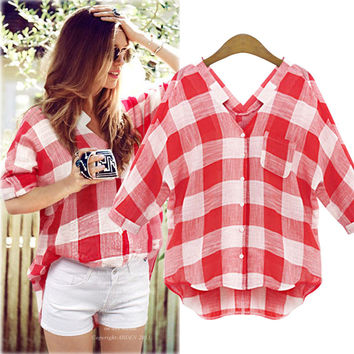 Checkered V-Neck Sleeve Button Blouse