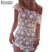 Women Sexy Mini Beach Dress Ladies Casual Backless Lace Crochet Hollow Out See Through White Cover Up Plus Size Long Tops