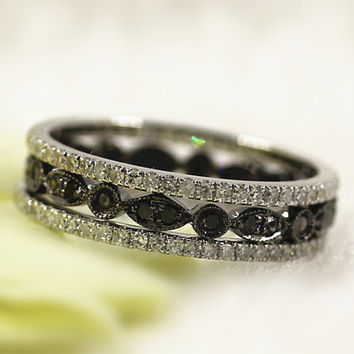 Set Of 3 Band Black Diamond Full Eternity Ring  in 14K Black Gold  and 2 Diamond Wedding Ring in 14K White  Gold