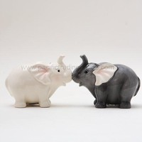Ceramic Magnetic Salt and Pepper Shaker Set - Elephants They Kiss 8795