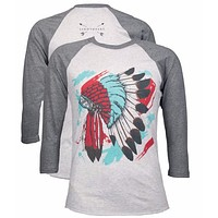 Southern Couture Lightheart Indian Warbonnet Raglan Long Sleeve T-Shirt