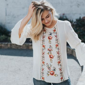 Valencia Embroidered Bell Sleeve Top, Natural
