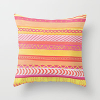 Tribal#1 (Orange/Pink/Yellow) Throw Pillow by Haleyivers