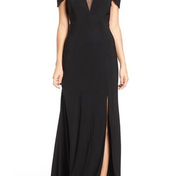 Morgan & Co. Illusion Mesh Gown | Nordstrom