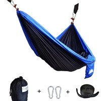 CUTEQUEEN TRADING Double Nest Ultralight Portable Outfitters Parachute Nylon Fabric Hammock For Travel Camping,Backpacking,Kayaking,Color: black/blue