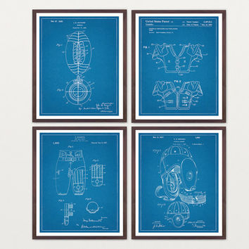 Football Poster - Inventions of Football Set of 4 Prints - Football Helmet - Football Pads - Football - Football Art - Football Wall Art