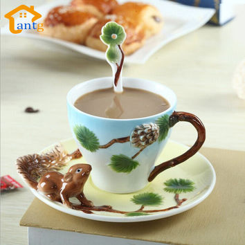 3D Squirrel Pure Hand-painted Enamel Coffee Mug cup individuality creative mugs Couples of coffee tea cup
