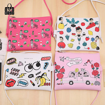 ROSEDIARY women weekend party fashion girls High quality PU leather waterproof Messenger bag cartoon Children Shoulder Bag