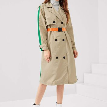 Colorblock Double Breasted Trench Coat