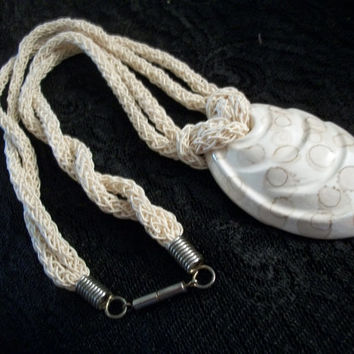 Shell Pendant Beige Rope Cord Necklace Handpainted White Ceramic Imperial Venus Seashell Vintage Beach Boho Statement Summer Jewelry