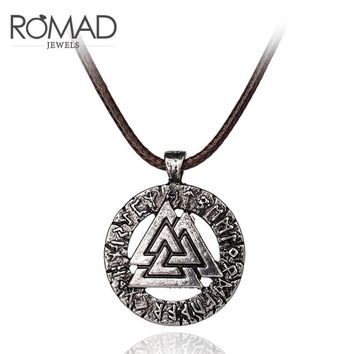 ROMAD Thor Hammer Mjolnir Viking Triangle Pendant Necklace Norse Fashion for Men and Women Hip Hop Cool Necklace Jewelry R4