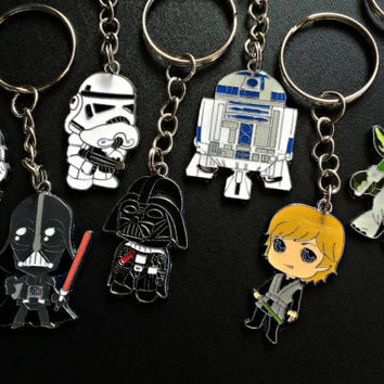 Star Wars Keychain Necklace Tattoo Choker- Fandom Jewelry Gift Star Wars Accessories Luke Storm Trooper Yoda Darth Vader R2D2 Geeky Gift