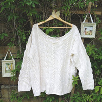 Upcycled Chunky Knit Off-The-Shoulder Sweater
