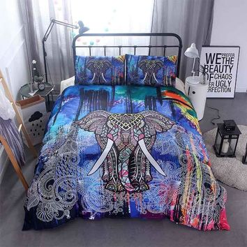 3D Mandala Elephant Print Duvet Cover Set 3pcs Single Double Queen King Size Bed Linen Boho Quilts Comforter Bedding Sets Sheets