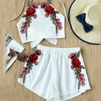 Rose Applique Beach Women Bow Tie Brief Halter Top And Shorts Set Sexy Open Back Vintage Two Piece Set