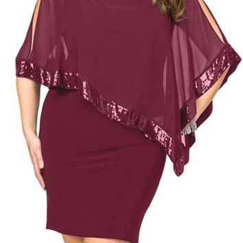 Burgundy Sequined Mesh Overlay Poncho Plus Size Dress