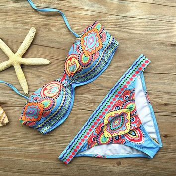 Ethnic Geometric Pattern Beach Bikini Set Swimsuit Swimwear