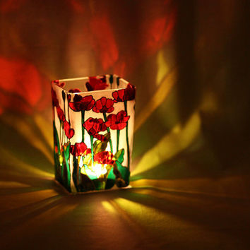 Hand Painted Glass Vase glass candle holder floral design stained glass botanical red Poppies green white