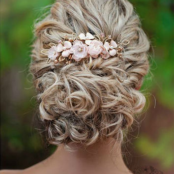 R780 Rose gold Hair comb hairpiece blush pink - wedding bridal hair - veil comb - gold
