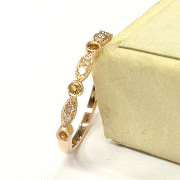 Citrine Diamond Wedding Ring 14K Rose Gold,Art Deco Antique Style,Half Eternity Band,Milgrain Matching Band,Fashion Fine Ring,Stackable