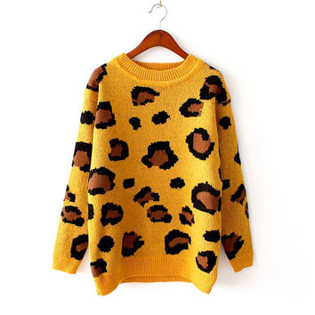 Korean Leopard Vintage Strong Character Pullover Knit Sweater [9176488260]