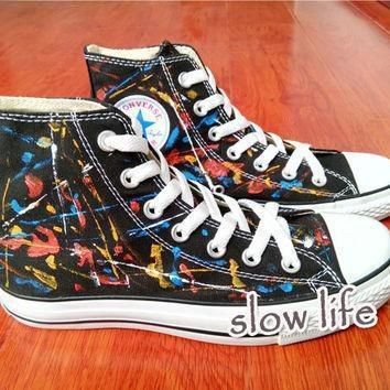 splash ink wind painted shoes converse canvas shoes custom canvas shoes sneakers graff