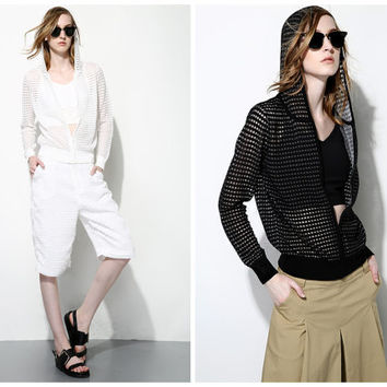 women sweater cardigan in white,black,hoodie,zipper,casual,sheer,for spring.