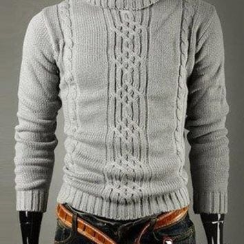 Stylish Turtleneck Solid Color Twist Jacquard Design Long Sleeves Cotton Sweater For Men - Light Gray - L