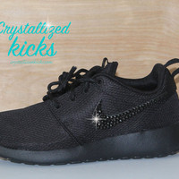 Nike Roshe Run Black on Black made with SWAROVSKI crystals