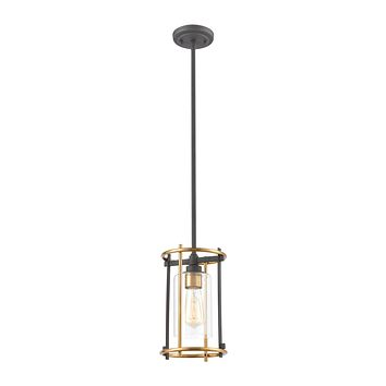 Millington 1-Light Mini Pendant in Charcoal with Clear Glass