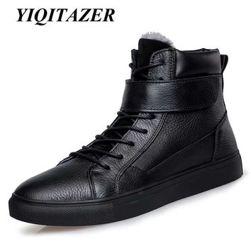 YIQITAZER 2017 Snow boots Mens Shoes Warm Genuine Leather male Boots Winter Plush Boots Fur Waterproof Rubber Shoes Man Shoes