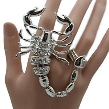 TFJ Women Slave Ring Fashion Jewelry Metal Long Scorpion Elastic Band 2 Fingers Silver