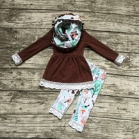 In Stock-brown top with 3 piece lace and pompom scarf  set
