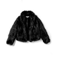 Black Faux Fur Coat-My Teenage Heart