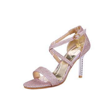 Sequin Strappy Buckle Stiletto Sandals High Heeled Shoes 4660