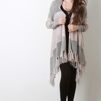 Mesh And Melange Knit Tassel Hem Long Cardigan