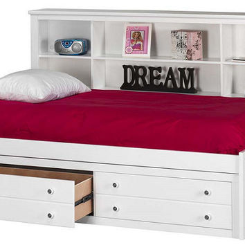 Laramie Twin Size Big Bookcase Storage Bed